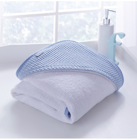 Clair De Lune Luxury Hooded Towel - Waffle Blue